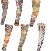 Set of 6 Assorted Novelty Realistic Looking Fake Tattoo Sleeves 45cm by Kurtzy TM