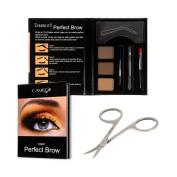 Perfect Brow Eyebrow Makeup Kit - Premium Dark Brown Eyebrow Colour With FREE Eyebrow Grooming Scissors - Ideal Eyebrow Hair Trimmer