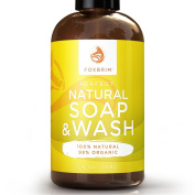 Perfect Natural Soap & Face Wash - 100% Natural - 98% Organic - Perfect for ALL Skin Types - An All Around Solution - No Harmful Chemicals - For Body, Face & Hair - Foxbrim 240ml