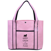 Fashion Tote Bag Shopping Beach Purse Keep Calm and Love Pugs