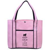 Fashion Tote Bag Shopping Beach Purse Keep Calm and Love Pugs