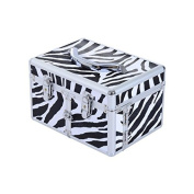 Soozier 3 Tier Lockable Cosmetic Makeup Train Case with Extendable Trays- Zebra Print