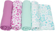 Miracle Blanket MiracleWare Muslin Swaddle Blanket, Radiant Orchid Stars Collection, 4 Pack