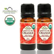 US Organic 100% Pure Sweet Orange Essential Oil - USDA Certified Organic - 10 ml Pack of 2