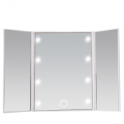 Miss Sweet Tri-Fold Two-Sided Lighted Travel Mirror for Beauty Makeup,Soft Touch