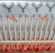 Lavender Linens Coral Stag Crib Bedding