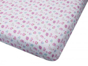 100% Cotton Jersey Knit Fitted Crib Sheet - Butterfly Print