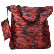 Releaserain Lightweight Handy Waterproof Red Black Bamboo Forest 43cm Folding Shopper Nappy Tote Bag Foldable Packable Portable Handbag with Zipped Pouch for Shopping Outdoor Beach Gym Carry On Travel