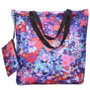Releaserain Lightweight Handy Waterproof Watercolour Flowers 43cm Folding Shopper Nappy Tote Bag Foldable Packable Portable Handbag with Zipped Pouch for Shopping Outdoor Beach Gym Carry On Travel