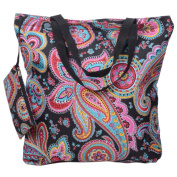 Releaserain Lightweight Handy Waterproof Parisian Paisley 43cm Folding Shopper Nappy Tote Bag Foldable Packable Portable Handbag with Zipped Pouch for Shopping Outdoor Beach Gym Carry On Travel