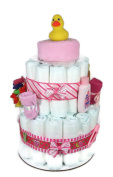 Sunshine Gift Baskets - Little Ducky Pink Nappy Cake Gift Set