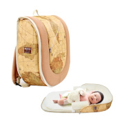 Nuvo Portable Crib Bag Nappy Backpack Gold Map