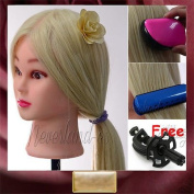 Noviame(TM) TOP 60cm 90% Real Human Blonde Hair Hairdressing Training Mannequin Head +Free Clamp C20