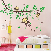 Monkeys Birds Forest Wall Decal PVC Home Sticker House Vinyl Paper Decoration WallPaper Living Room Bedroom Kitchen Art Picture DIY Murals Girls Boys kids Nursery Baby Playroom Decor