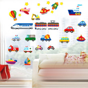 UNIQUEBELLA Transportation Peel & Stick Wall Decals 50 x 70 cm