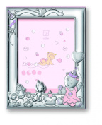 Silver Touch USA Sterling Silver Girl Celebration Picture Frame with Booklet, Pink, 13cm x 18cm