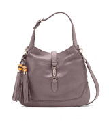 Gucci New Jackie Neutral Lavender Grey/Grey Textured Leather Hobo Bag Shoulder Handbag 246907