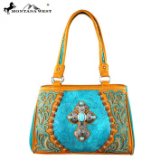 Montana West Spiritual Collection Cross Western Handbag Brown MW273-8036
