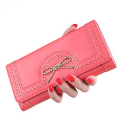 Tuvenwe Cute Long Trifold Bowknot Leather Women's Wallets Cluth Purses Holder