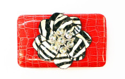 ANNIE'S FASHION Women's 3D Rhinestone Zebra Print Flower Wallet