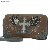 Lunar LilyTM Western Double Zipper Wristlet Wallet Cross Bling