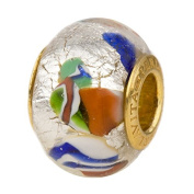 Venetian Glass Large Hole Bead KLIMT Multicolor Vermeil Insert, European Charm Bead