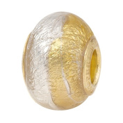 Venetian Glass Large Hole Bead Bicolor with Gold and Silver and Vermeil Insert, European Charm Bead
