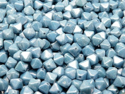 30pcs Czech Glass Pressed Bicone Lantern Beads 6mm, Chalk Blue Lustre