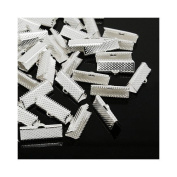 Packet of 50+ Silver Plated Iron 8 x 20mm Ribbon Ends/Clamps - (HA13085) - Charming Beads