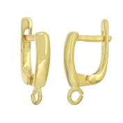 Fine Sterling Silver Leverback Earring Hook Earwire Connector, 22kt Gold Plated