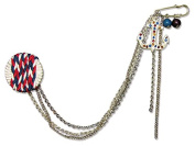 Gafforelli - Made in Italy Rhinestone+ Chain + Fabric Brooch (15cm ) in White Gold +Red + Blue