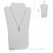 32cm White Leather Padded Pendant Jewellery Necklace Display Easel Presentation