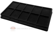 2 Black Insert Tray Liners W/ 10 Compartments Drawer Organiser Jewellery Displays