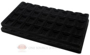 2 Black Insert Tray Liners W/ 32 Compartment Earrings Organiser Jewellery Display