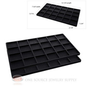 2 Insert Tray Liners Black W/ 24 Compartments Drawer Organiser Jewellery Displays