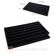 2 Insert Tray Liners Black W/ 6 Slot Each Drawer Organiser Jewellery Displays