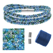 Refill - Beaded Kumihimo Wrap Bracelet Kit-Blue Tone - Exclusive Beadaholique Jewellery Kit