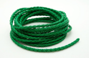 GREEN 3mm Round Braided Bolo Faux PU Leatherette Cord