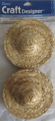 DARICE Craft PACK of 8 Pcs ROUND TOP STRAW HAT Each 10cm Dia. BRIM & 2.5cm - 1.9cm Dia. HEAD OPENING