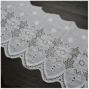 Ivory 2 Yards Hollowed Flower Embroidered Cotton Lace Trim Dress Sewing Lace 32cm Wide