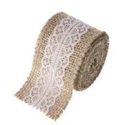 Banaps 5M Natural Jute Trims Tape with Lace Burlap Hessian Ribbon Rustic Wedding Decor