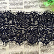 Black 3 Yards Retro Eyelash Embroidered Lace Trim Dress Lace Bra Sewing Lace 12cm Wide