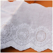 White 3 Yards Fabric Hollowed Embroidered Cotton Lace Trim Dress Lace Craft Lace Sewing Lace 15cm Wide