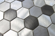 10cm x 15cm Samples - Uptown Aluminium Metal Hexagon Mosaic Tiles