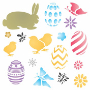 EASTER BUNNY Stencil - (size 18cm w x 18cm h) Reusable Wall Stencils for Painting - Best Quality Easter Scrapbooking Ideas - Use on Walls, Floors, Fabrics, Glass, Wood, Terracotta, and More...