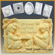 Sweet Friends - Detail of High Relief Sculpture - Silicone Soap/sugar/fondant/chocolate/marzipan 2d Mould