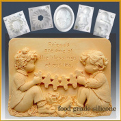 Dear Friends - Detail of High Relief Sculpture - Silicone Soap/sugar/fondant/chocolate/marzipan 2d Mould