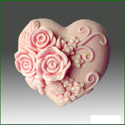 Triple Rose Heart- Detail of High Relief Sculpture - Silicone Soap/polymer/clay/cold Porcelain Mould