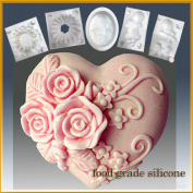 Triple Rose Heart - Detail of High Relief Sculpture - Silicone Soap/sugar/fondant/chocolate/marzipan 2d Mould
