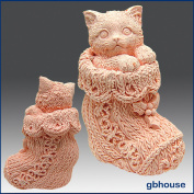 Kitten in Crochet Bootie- 3d Soap/candle/polymer/clay/cold Porcelain Silicone Mould